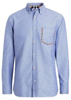 Burberry Check Detail Cotton Oxford Shirt