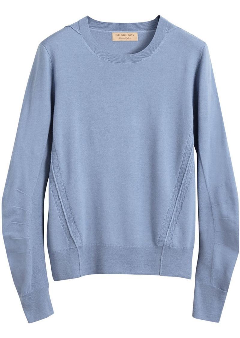 f6fc143d3 Burberry Check Detail Merino Wool Sweater