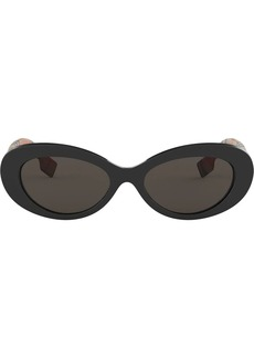 Burberry check detail oval sunglasses