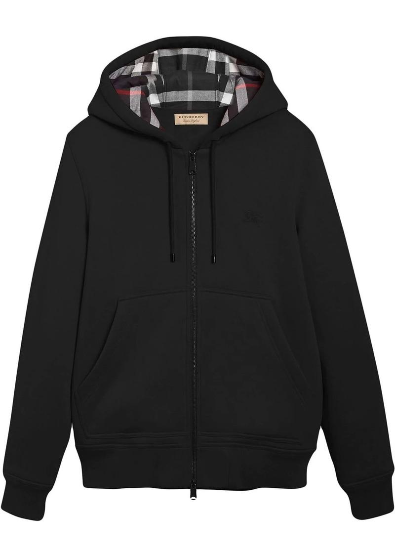 Burberry Check detail zipped hoodie
