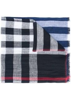 Burberry check panel scarf