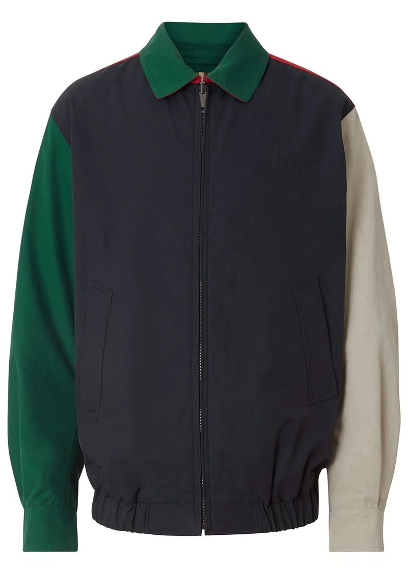 Burberry check panelled reversible cotton bomber jacket