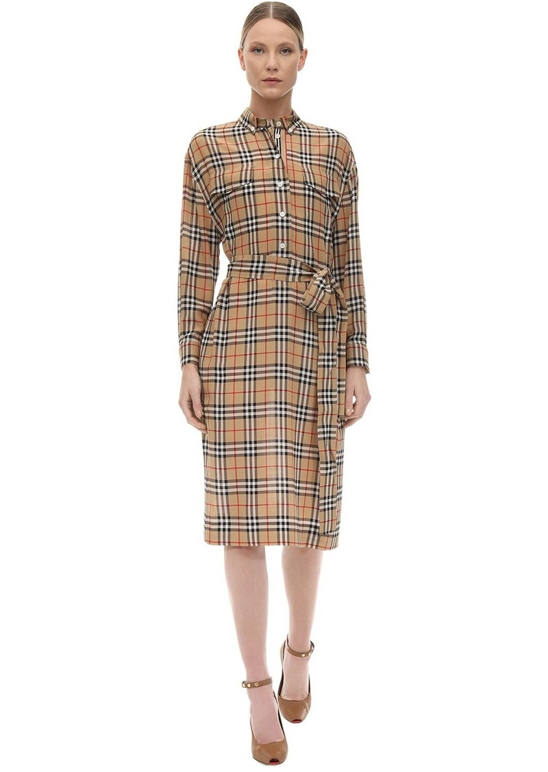 Burberry Check Print Silk Shirt Dress