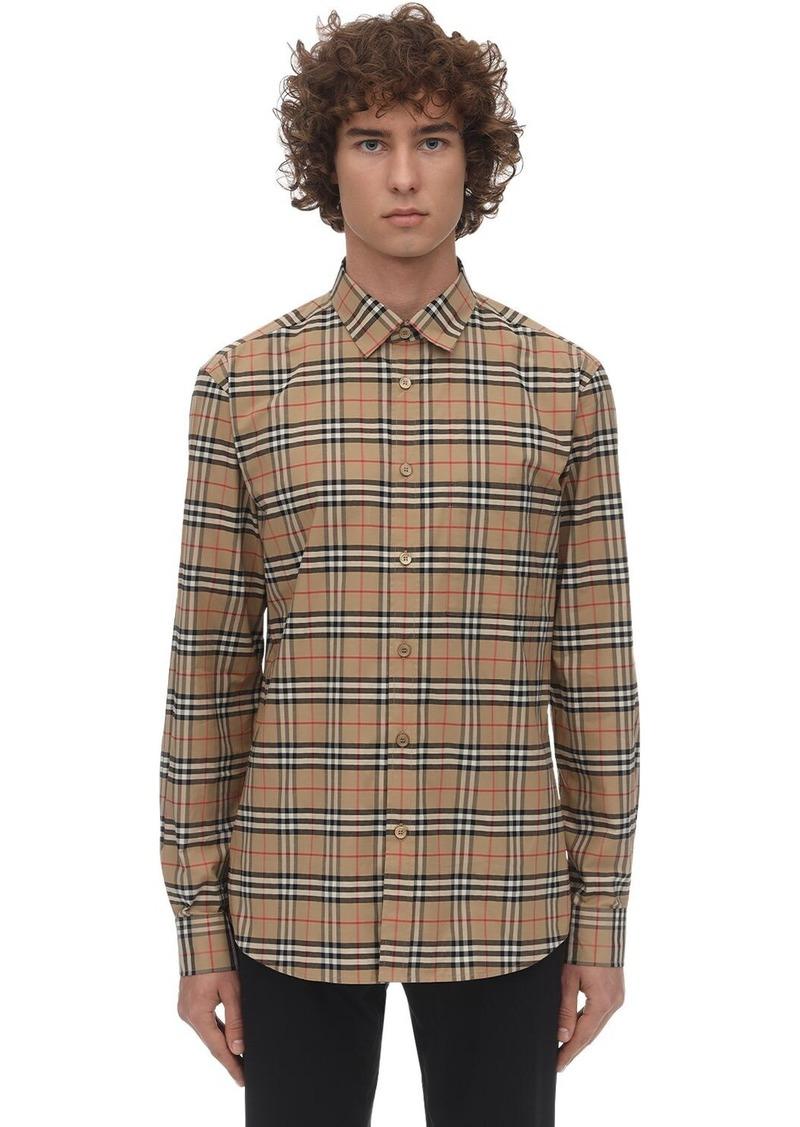 Burberry Check Print Stretch Poplin Simpson Shirt