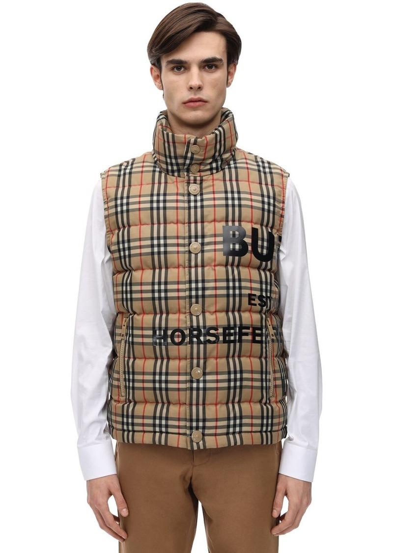 Burberry Check Printed Techno Down Vest