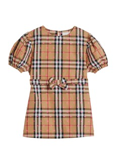 Burberry Check Puffy-Sleeve Dress w/ Fil Coupe Detail