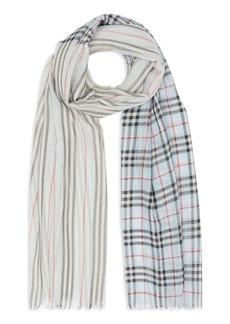 Burberry Check to Stripe Silk Scarf