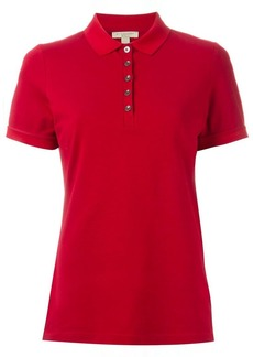 Burberry Check Trim Stretch Cotton Piqué Polo Shirt