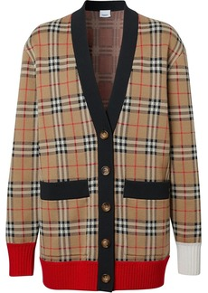 Burberry check wool blend cardigan