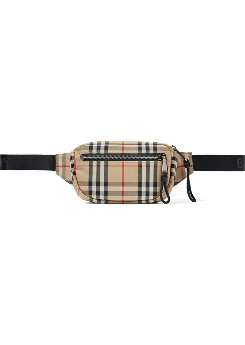 Checked Canvas Belt Bag