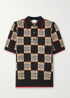 Burberry Checked Merino Wool-blend Jacquard Polo Shirt