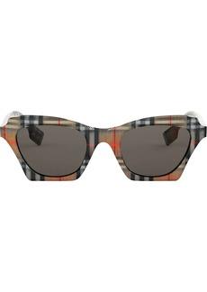 Burberry checked square frame sunglasses