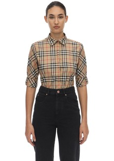 Burberry Luka Checked Stretch Cotton Blend Shirt