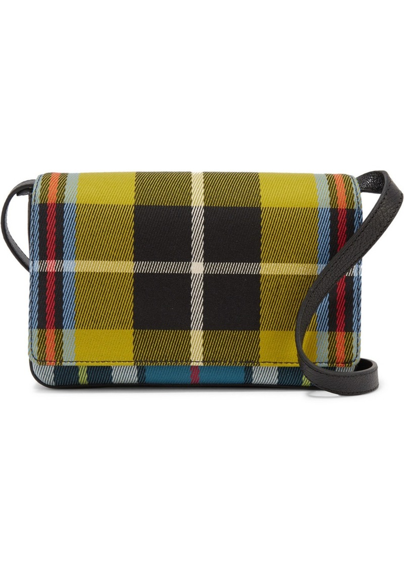 b6f34379f4b7 Burberry Checked Twill And Textured-leather Shoulder Bag