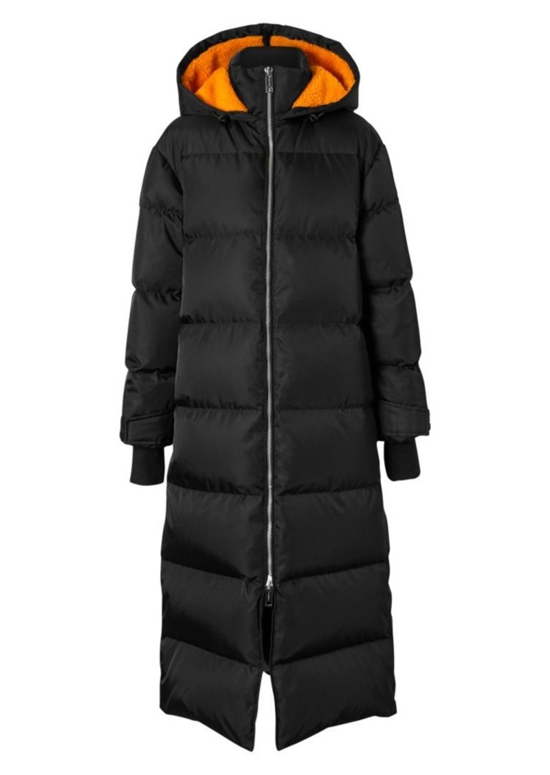 Burberry Clovenstone Fleece Logo Long Puffer Coat