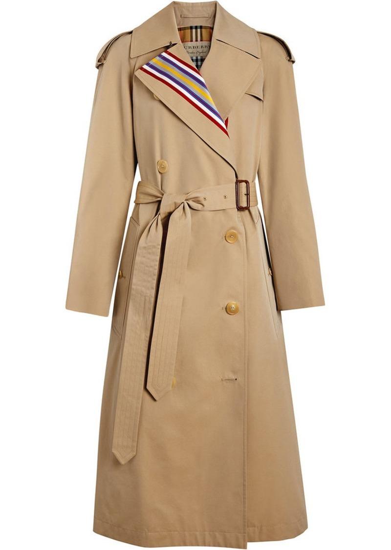 Burberry Collegiate Stripe Cotton Gabardine Trench Coat