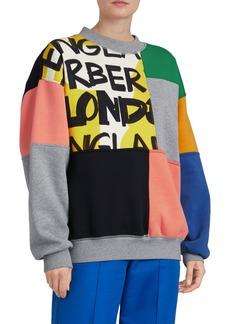 Burberry Colorblock Graffiti-Print Crewneck Sweatshirt