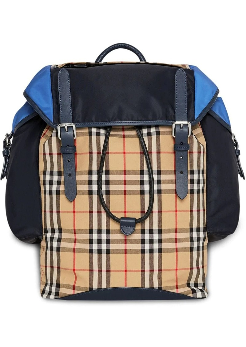 Burberry colour-block vintage check and leather ranger backpack