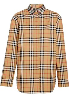 Burberry Contrast Check Cotton Shirt