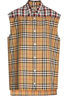Burberry Contrast Check Sleeveless Shirt