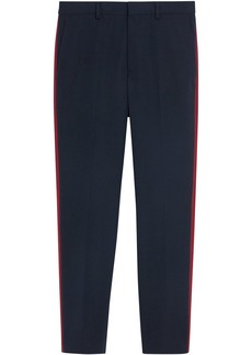 Burberry Contrast Stripe Wool Blend Tailored Trousers