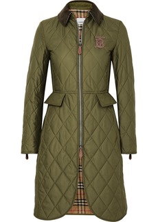 Burberry Corduroy And Leather-trimmed Quilted Shell Coat