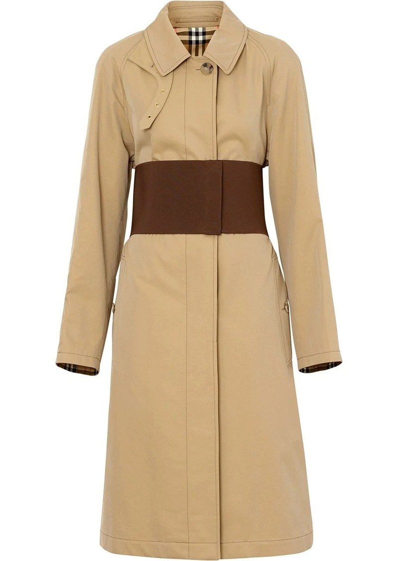 Burberry Corset-belt Cotton Gabardine Car Coat