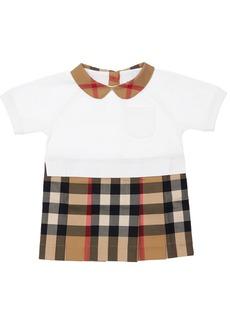 Burberry Cotton Dress W/ Check Skirt