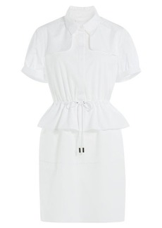 Burberry Cotton Dress with Peplum and Drawstring Waist