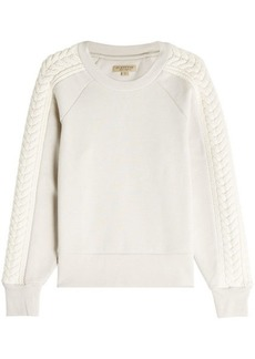Burberry Cotton Sweatshirt with Knit Detail on Sleeves