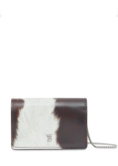 Burberry Cow Print Leather Card Case with Detachable Strap
