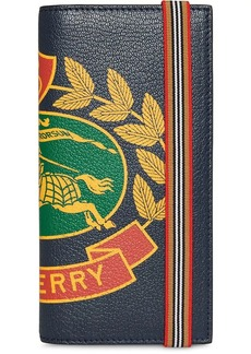 Burberry Crest Print Leather Continental Wallet