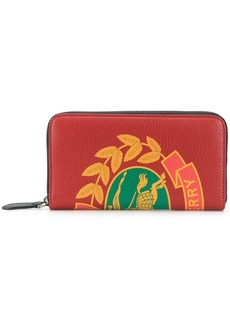 Burberry Crest Print Leather Ziparound Wallet