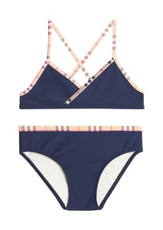 55aec358737 Burberry Lundy Ruffle-Trim Cross-Back Swimsuit | Swimwear