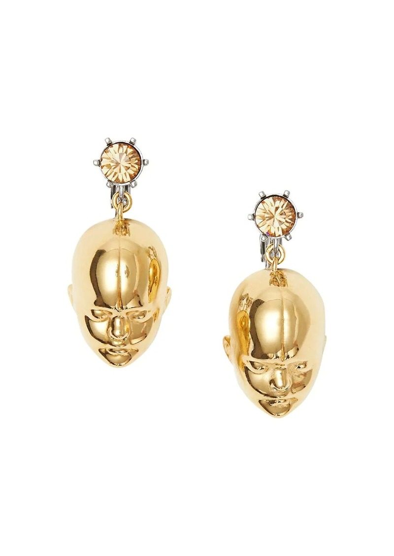 Burberry Crystal and Doll's Head Gold-plated Drop Earrings