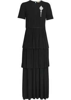Burberry Crystal Brooch Detail Tiered Jersey Dress