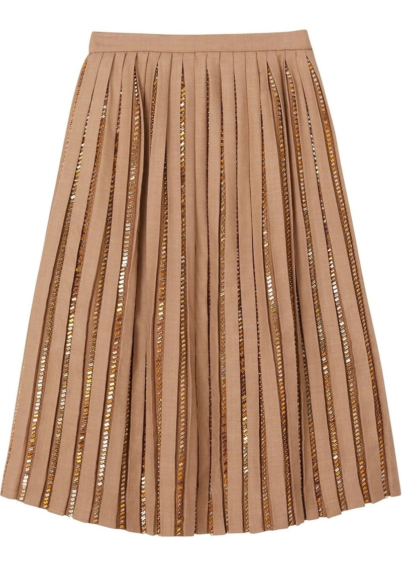 Burberry Crystal Detail Plissé Soleil Wool Silk Blend Skirt