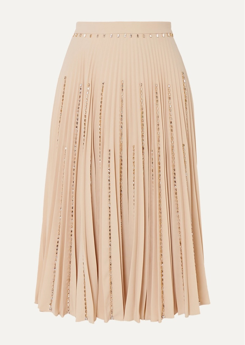 Burberry Crystal-embellished Pleated Crepe Midi Skirt