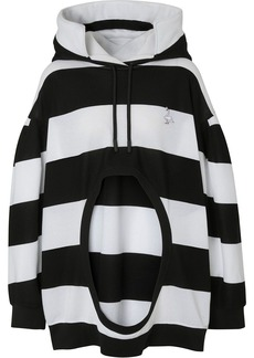Burberry cut-out detail striped hoodie