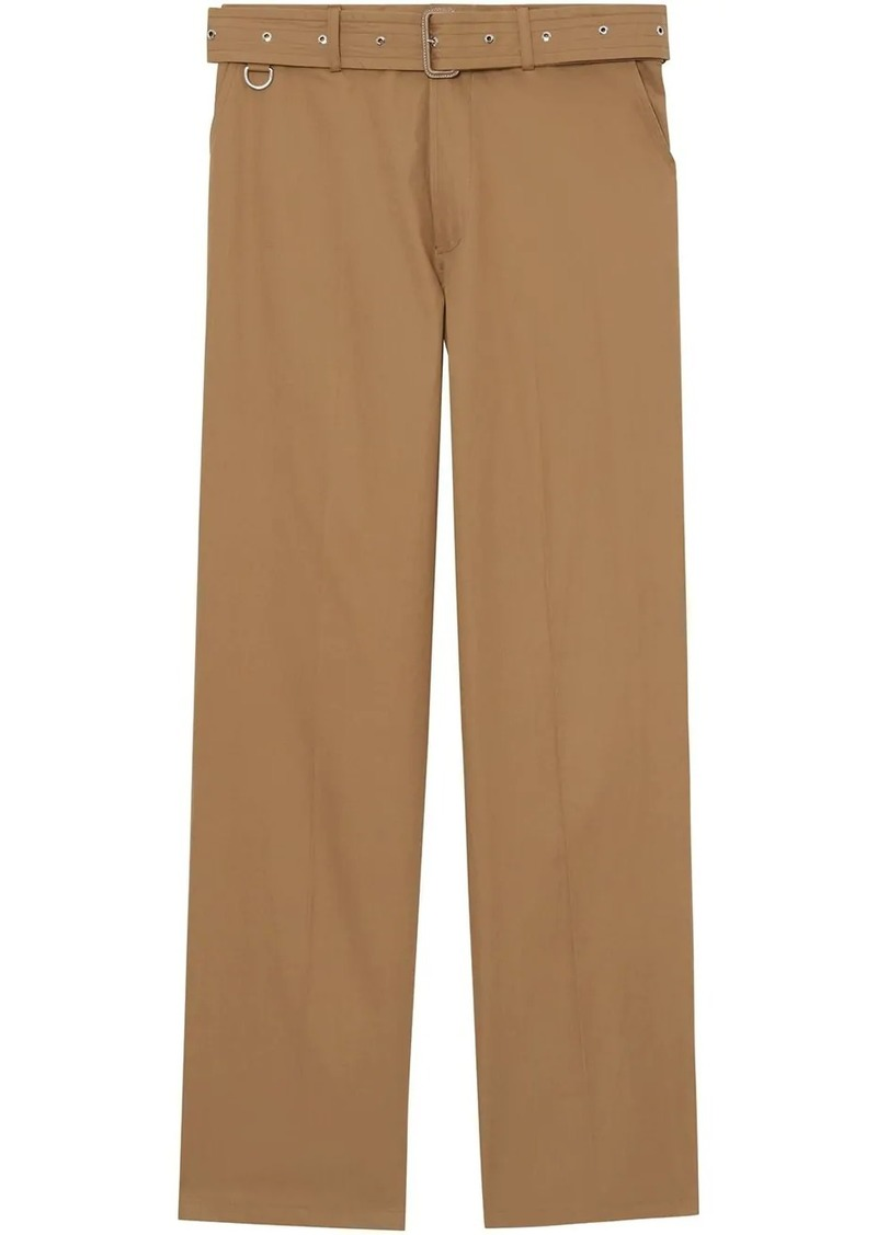 Burberry D-ring Detail Belted Cotton Trousers