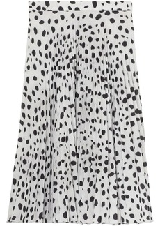 Burberry Dalmatian Print Crepe Pleated Skirt