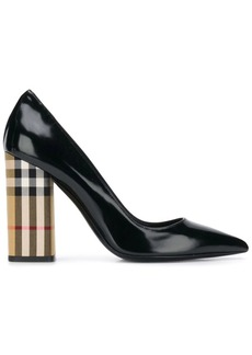 Burberry Patent Leather and Vintage Check Block-heel Pumps