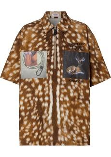 Burberry deer-print patch shirt