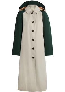 Burberry Detachable Hood Wool and Cotton Gabardine Car Coat