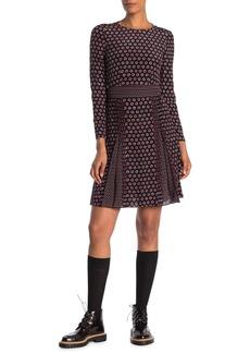 Burberry Domenica Long Sleeve Pleated Dress