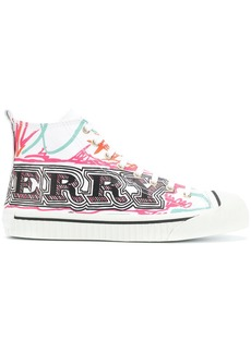 Burberry doodle print high-top sneakers