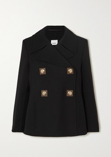 Burberry Double-breasted Leather-trimmed Wool-twill Coat