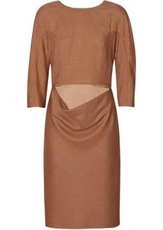 Burberry Double-waist Wool Silk Mohair Linen Shift Dress
