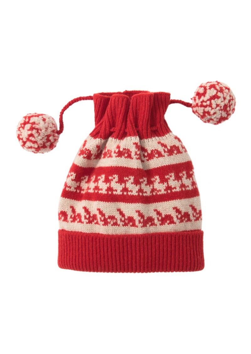 Burberry Drawstring Wool & Cashmere Double Pompom Beanie