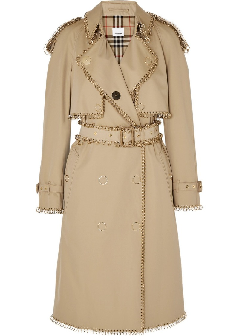 Burberry Embellished Cotton-gabardine Trench Coat